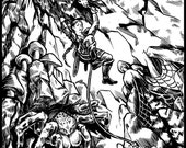Giant Spider Lurks - Full Page Illustration