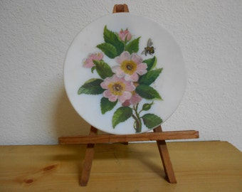 Vintage Oil Painting on Milk Glass Plate with Wild Pink Roses and Bumblebee / Reduced