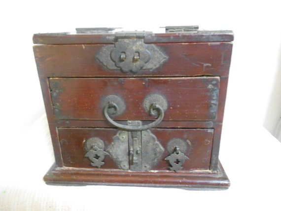 Early 19th Cen.Chinese Dynesty Traveling Jewelry Box with Stand up Mirrow / Three Drawers - REDUCED PRICE
