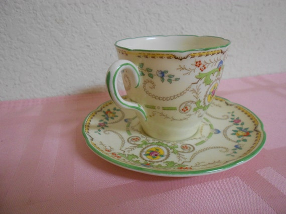 Vintage Royal Doulton Demitasse Cup and Saucer / The Kendel Pattern / GORGEOUS / REDUCED