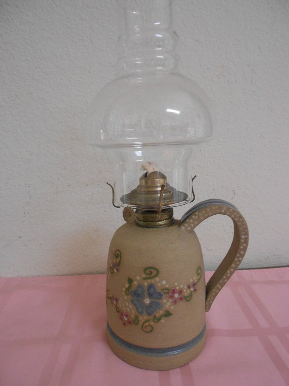 Vintage Ballard Pottery Oil Lamp /  Never Used 1950's / Hand Painted / Beautiful Floral / REDUCED