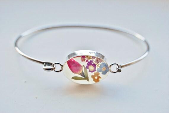 Real Flower Sterling Silver Bangle Real Rose Resin Bracelet Rose Bud