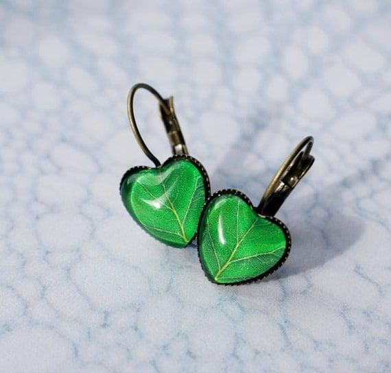 Leaf Earrings Green Leaf Wearable Art Earrings Antique Brass Spring Dangle