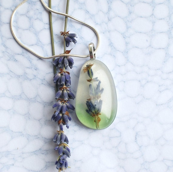 Lavender Flower Necklace Resin Jewelry Specimen Necklace Nature Woodland Purple Blue Green Spring Summer
