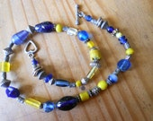 Ceramic Glass and Bali Silver Beaded Necklace in Blues and Sunny Yellow