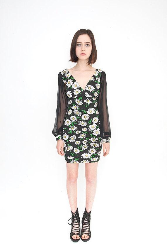 Vintage Black Daisy Print Bodycon Mini Dress with Sheer Sleeves