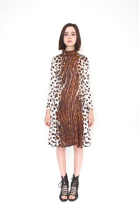 Vintage 1950's Leopard Print Drop Waist Pleated Ice Skater Dress