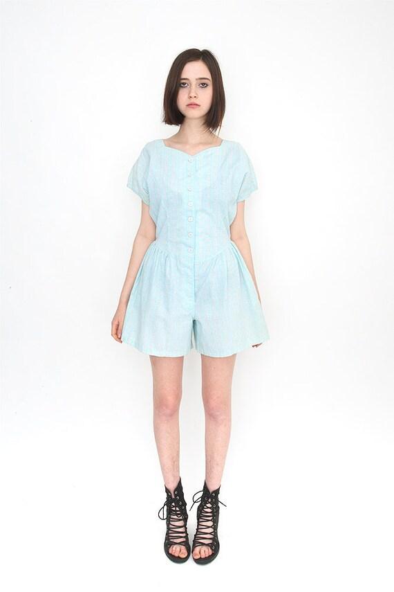 Vintage Baby Blue Floral Printed Shorts Romper Jumpsuit