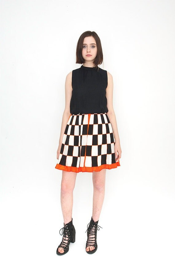 Vintage Mod Shift Dress with Pleated Orange and Black Checkered Print Skirt