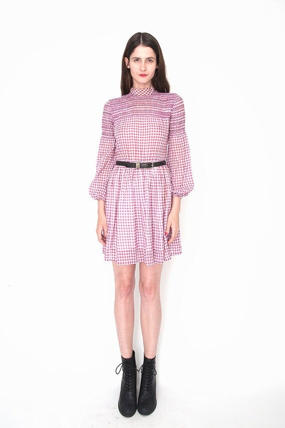 RESERVED FOR SALMON37 Vintage Purple Gingham Smocked Prairie Mini Dress