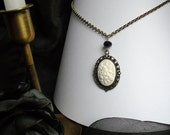 Antique Bronze Ivory Fairy Cameo Pendant Necklace Black Bead Crystal Victorian Fantasy Steampunk Style