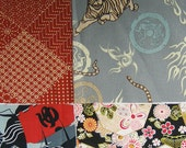 Four japanese fabric Scrap Pack.Pieces.n2