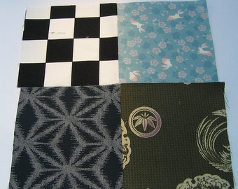 Four japanese fabric Scrap Pack.Pieces.n12