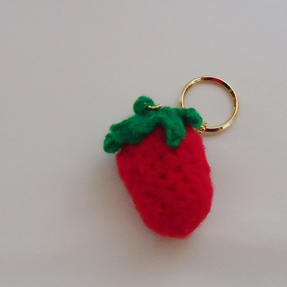 Handmade Japanese Strawberry Sherbet Crochet Keychain.