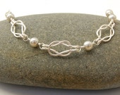 Silver Knot Necklace with Gray Pearls - Bridal Wedding Jewelry - Tie The Knot