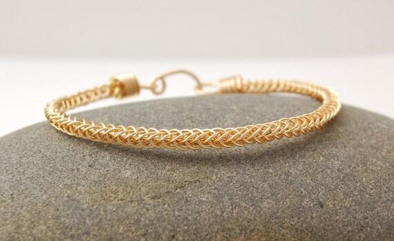 Brass Braided Bangle Bracelet - Gold Colored