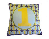 SALE - Decorative Number Pillow featuring number One
