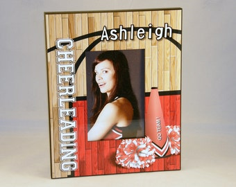 "Custom Personalized Cheerleader Cheerleading Sports 4"" x 6"" Photo Picture Frame."