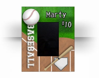 "8 x 10 Custom Personalized Base Ball Sports 4"" x 6"" Photo Picture Frame."