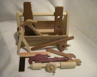 Natural, Eco Friendly, Handmade Toy Tool box and set of 10 toy tools