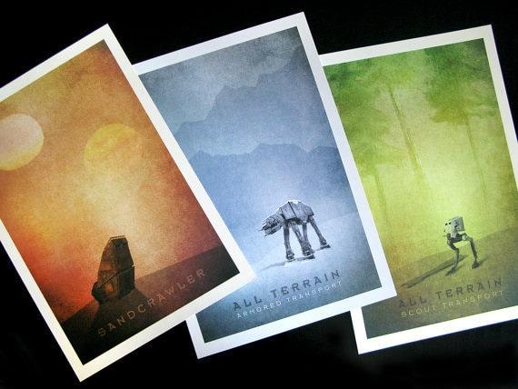 Star Wars Transport Series:  Limited Edition Print (set of 3)