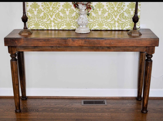 Thick wood top console table