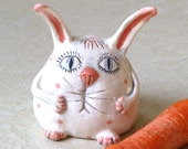 Handmade Ceramic Sweet  White EASTER BUNNY With Pink Spots