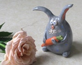 Handmade Ceramic Sweet EASTER BUNNY with a CARROT, grey, gray, orange, green, blue dots