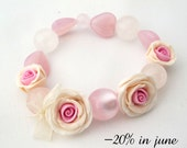Bracelet with pink and beige handmade polymer clay roses