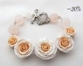 Hand sculpted polymer clay romantic light pink rose bracelet