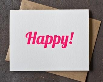 Letterpress Birthday / Congratulations Card - Happy - Neon Pink