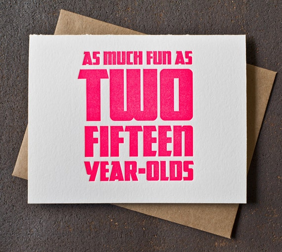30th Birthday Card - Neon Pink - Fun As Two Fifteen Year Olds
