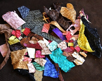 Scrap Pack (LARGE) - Exotic Fish Leather Recycled for Cardmaking, Journals, Scrapbooking, Jewelry, Bookbinding, Embellishments