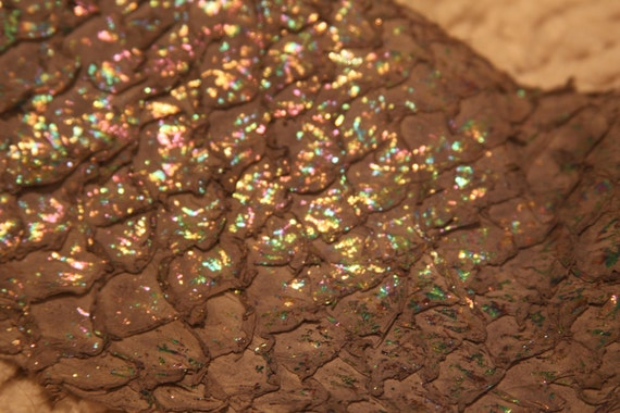 MERMAID Brown  Exotic, Recycled Leather Fish Skin Hide with Opalescent Sparkles, great for Bookbinding, Journals, Jewelry