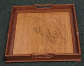 Wooden Serving Tray with Handles and engraved heron