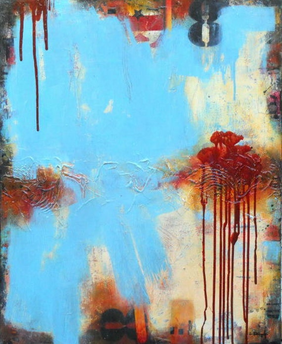 """SALE Large Original Abstract Acrylic Painting on Canvas, """"Underneath It All"""", by Sarah Ettinger, size 24 x 30"""