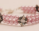 Pretty Pink Pearl and Antique Look Bracelet