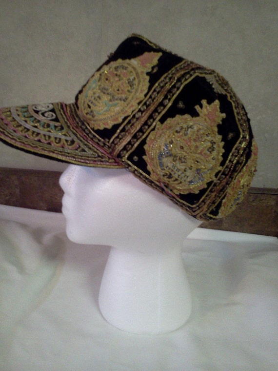 Vintage Suede and Ribbon Cap