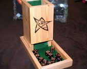 Custom Wood Dice Tower / Dice Box with your graphics or Elder Sign - Arkham Horror / Lovecraft Chulhu Mythos Theme