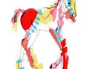 BABY HORSE illustration abstract colour limited edition print A3