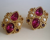 FREE SHIPPING US only - Vintage Multicolor stone - Diana earring