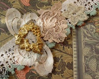 SALE Dainty Doing Double Duty... Vintage & Antique Laces Headband/Collar