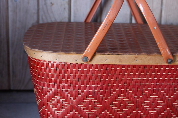 Vintage Red Woven Picnic Basket - Red Man Brand