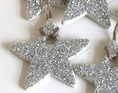 glitter clay star ornament, set of six
