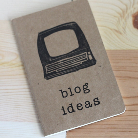 hand stamped moleskine blog idea journal blank