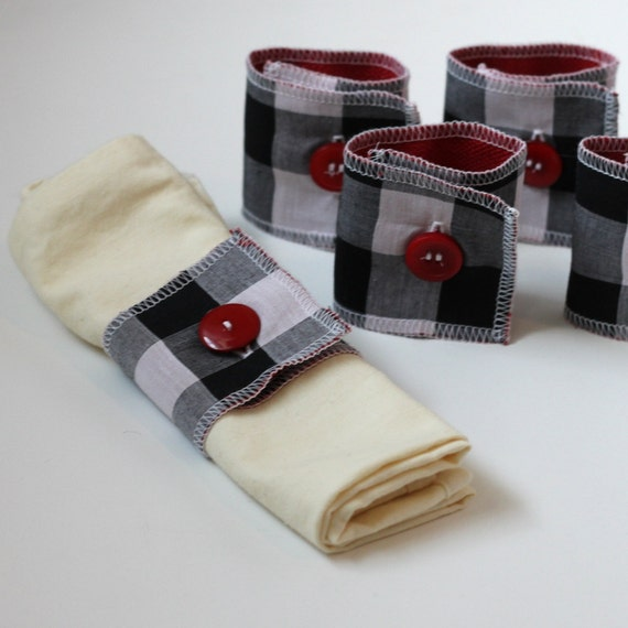 fabric napkin rings, set of six, black and white plaid with red buttons