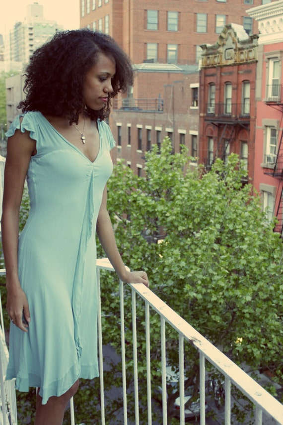Vintage Mint Dress with Ruffled Front and Sleeves, S/M