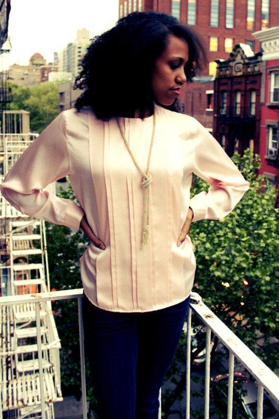 Vintage Pink Long-sleeved Blouse Small/Medium
