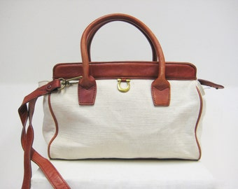 Etienne Aigner Two-tone Leather and Cloth Satchel