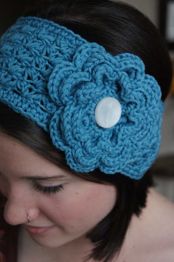 items similar to crochet flower headband headbands items similar to crocheted ear warmer headband on etsy